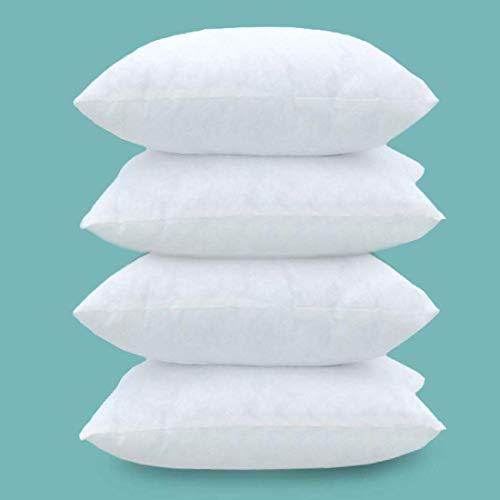 Imbottiture Cuscini 40x40 Set 4 Pezzi- Imbottitura per Cuscini Quadrati 40x40 cm (Anime Cuscini per Divano) - Cuscini da Rivestire per Divano, Poltrona, Letto, Cuscino Imbottitura (4 Pezzi Bianco)