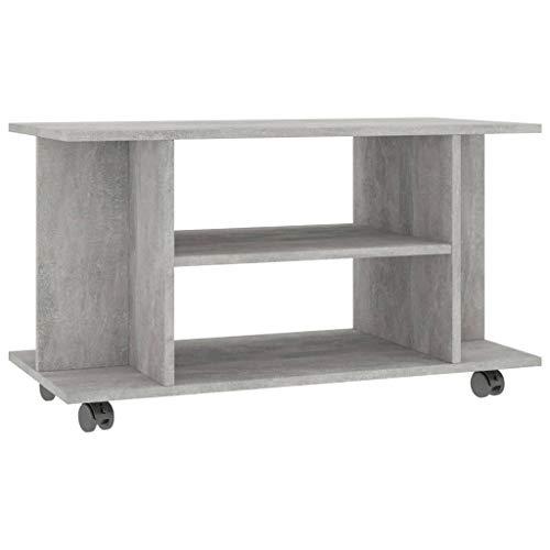 vidaXL TV Schrank mit Rollen Lowboard Fernsehtisch TV Möbel Board Tisch Fernsehschrank Sideboard HiFi-Schrank Betongrau 80x40x40cm Spanplatte