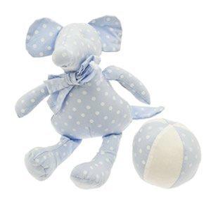 Gisela Graham Ensemble cadeau avec hochet et balle en peluche pour bébé garçon Bleu