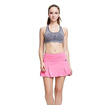 RainbowTree Women's Athletic Skorts Lightweight Active Skirts with Shorts Pockets Running Tennis Golf Workout Sports Skirts Red