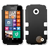 MYBAT Rubberized Black/Solid White TUFF Hybrid Phone Protector Cover compatible with NOKIA Lumia 630/635