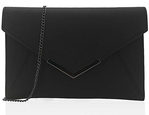 Dexmay Women Envelope Clutch Handbag Medium Saffiano Leather Foldover Clutch Purse Black