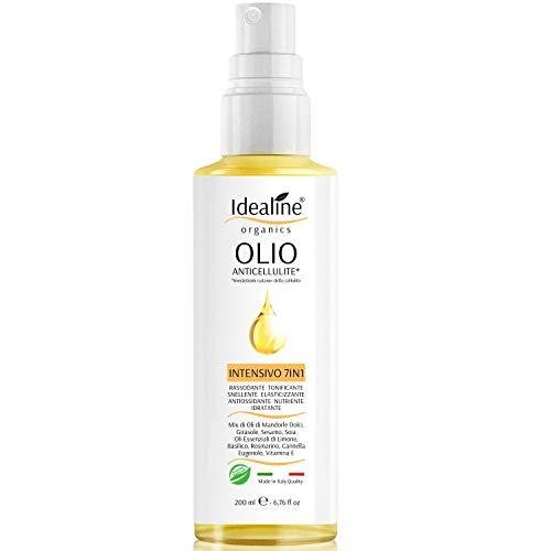 Olio Anticellulite INTENSIVO 7in1 BIO 100% Naturale Mix Anti Cellulite e Smagliature di Olio di Mandorle Dolci Oli Essenziali Vitamine 200ml Idealine