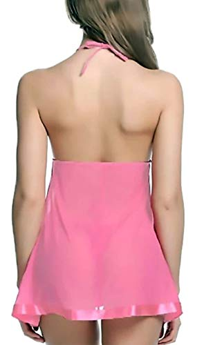 FIMS - Fashion is my style Satin Nylon Lycra Spandex (4WAY) Women Innerwear Lingerie for Women Sexy Lingerie for Honeymoon Sex Lingerie Set Babydoll Nightwear Lingeries for Women Free Size Pink