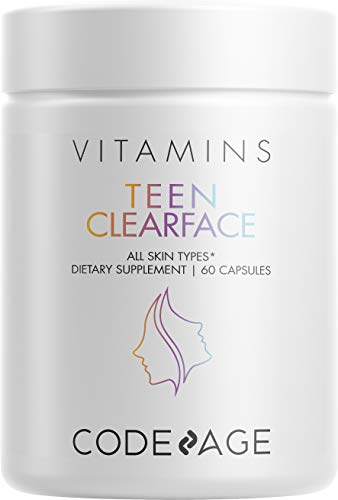 Teen Clearface Adolescent Face, Skin & Pimples, Vitamins A, C, D3, E, Pantothenic Acid, Niacin, Zinc Supplement for Teenagers, Probiotics, L-Lysine, Omega-3, Oily Skin, Pores, Spots - 60 Capsules