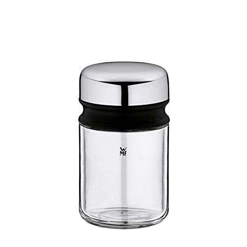 WMF Depot Gewürzbehälter, 100 ml, mit Aromadeckel, Gewürzglas ohne Streubild, Glas, Cromargan Edelstahl, spülmaschinengeeignet