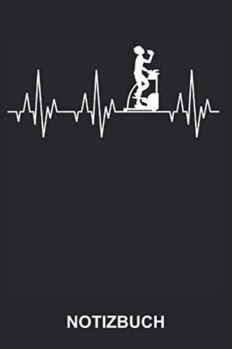 Notizbuch: Fitness Stepper Heimtrainer Gym Sport Fitnesscenter Fitnessstudio Herzschlag   Lustiges Notizheft, Schreibheft   ca. A5 mit Linien   120 Seiten liniert   Softcover