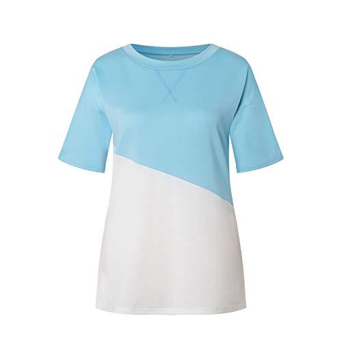 2021 Camiseta De Manga Corta con Cuello Redondo A Juego De Color Cruzado con Cuello Nuevo para Mujer