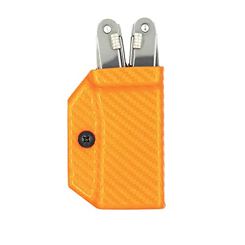 Clip & Carry Kydex Multitool Sheath for Victorinox SPIRIT - Made in USA (Multi-tool not included) Multi Tool Holder Holster (Carbon Fiber Orange)