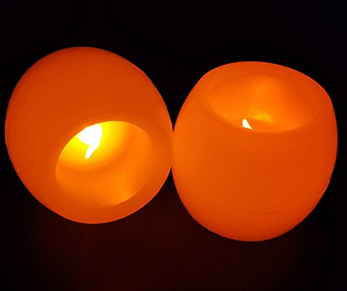 Flameless and Electric Led Candles, Tea Light, Battery Powered, Real Wax Feel for Parties,Home,Public Elegant Events, Set of 2 Candles
