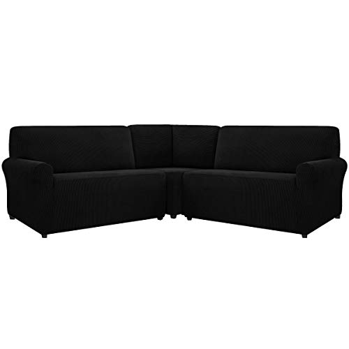 CHUN YI 3 Piece Corner Sofa Cover Sectional Stretch Couch Slipcover Set Washable Armchair Universal Elastic Couch Replacement for Living Room Furniture Sofa (Black)