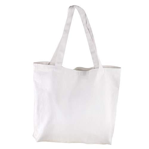 Rayher 53987102 Borsa Shopper classica in tessuto bianco, dimensioni 46 x 35 cm, borsa di cotone, tote bag da personalizzare, semplice senza stampe