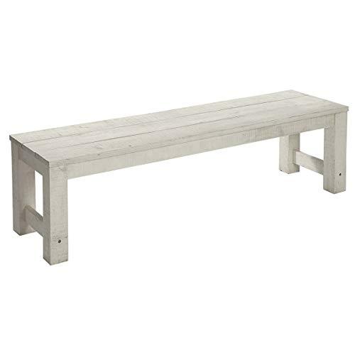 Pureday Gartenbank Lordi - Bank ohne Lehne - Akazienholz - Grau-Weiß - ca.165 cm