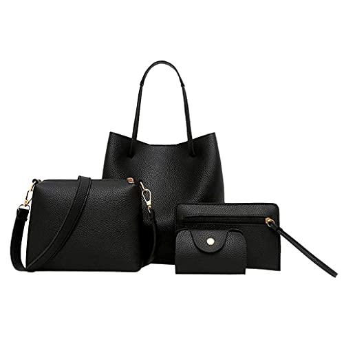 Corlidea Handtasche Set Damen 4er Set Mode TaschenTote Bag Leder Henkeltasche Umhängetasche Geldbörse Kartenhalter Shopping Tasche Geschenk Reise Bags