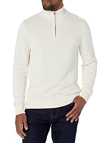 Amazon Brand - Goodthreads Men's Soft Cotton Quarter Zip Sweater, Vintage White X-Large