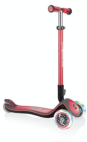 Globber Elite Deluxe Light - Monopattino a 3 ruote, unisex, rosso, regolabile in altezza