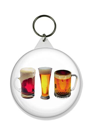 Gifts & Gadgets Co. Schlüsselanhänger Bier rund, 58 mm Durchmesser, groß
