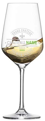 MeinGlas GmbH Weißweinglas mit Wunschname *Chateau Name* als Gravur – Edles Weißweinglas von Zwiesel Kristallglas individuell mit Wunschtext gestalten und gravieren Lassen