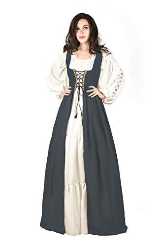 Gaelic Pirate Wench Irish Renaissance Costume Over Dress & Chemise (Small-Medium, Charcoal)