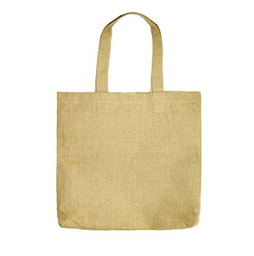 Cotton Craft - Juego de 8 bolsas de yute de arpillera (43 x 38 cm), natural, reutilizable, para compras de comestibles, playa, ecológica, tamaño generoso