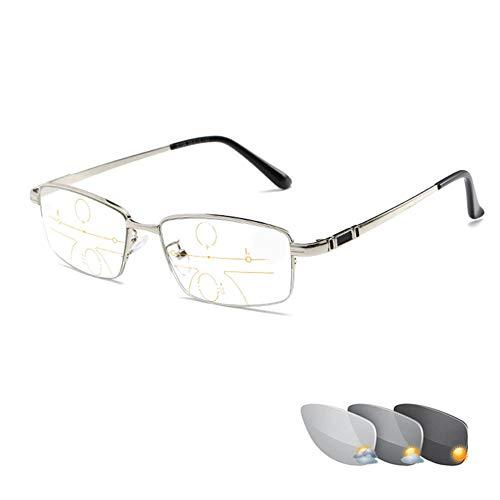 Exquisite Farbwechsel-Lesebrille, Halbrand-Brillen aus rostfreiem Stahl, multifokale Dioptrien-Gleitsichtgläser, photochrome Brillen, Unisex-Sonnenbrille, Ältesten