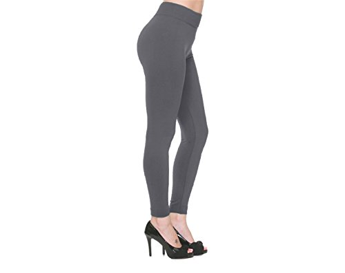 MEDIA WAVE store Leggings panta collant cotone modellante fuseaux leggins (Grigio, L/XL)