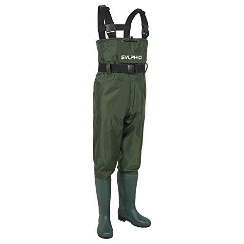 SYLPHID Bootfoot Chest Waders 2-Ply Nylon PVC Waterproof Fishing & Hunting Waders for Men and Women (Green, 42 M9/W11)