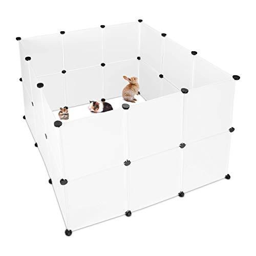 Relaxdays Freilaufgehege Kunststoff, DIY Freigehege, Erweiterbarer Auslauf für Kleintiere, HBT 92 x 110 x 110 cm, weiß
