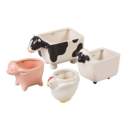 One Hundred 80 Degrees Farm Animal Measuring Cup Set - Ceramic 1/4 Cup Chicken  1/3 Cup Pig  3/4 Cup Sheep and 1 Cup Cow Decorative Kitchen Utensils