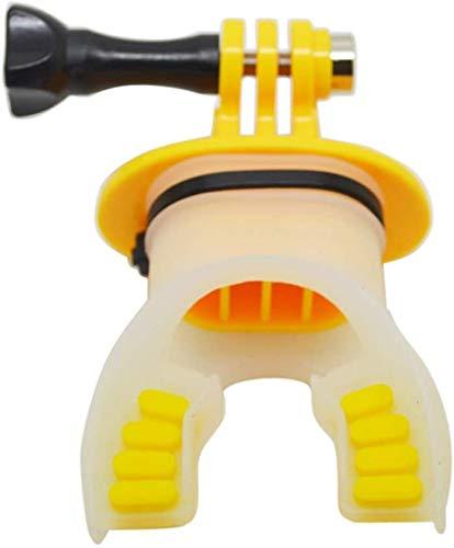 Flox Zähne Hosenträger Halter mit Schlüsselband Wasser Projects Action Kamera Mund Halterung Praktische Weich Silikon Kanufahren Tauchen Kajak Zubehör Surfen Unterwasser Trockentasche für GOPRO (Weiß)