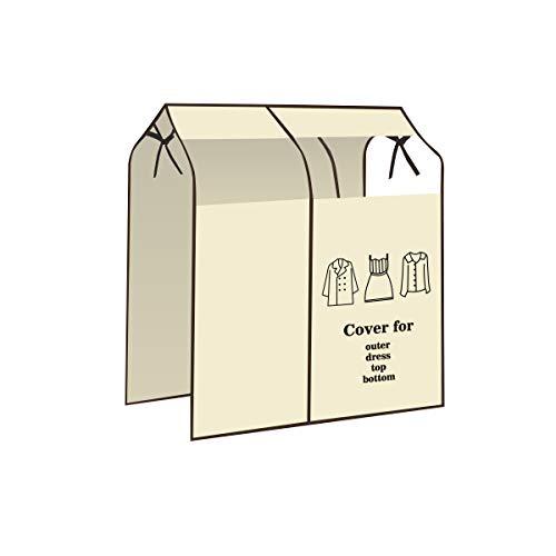 衣類収納カバー 不織布カバー 収納棚 防塵 防虫 防湿 防カビ 透明窓 通気性 取付簡単 不織布 (ベージュ)