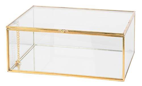 KASA Joyero Decorativo de Cristal con Detalles Dorados