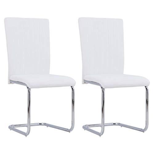 vidaXL Sillas Voladizas de Comedor Asiento Sofás Mobiliario Muebles de Hogar Casa Oficina Cocina Sala de Estar Salón con Respaldo Cuero Sintético Blanco