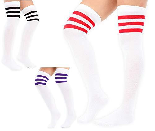 1 order 3 Paare Damen Frauen über dem Knie färbten 3 gestreifte Socken Schenkel hohe Strümpfe Großbritannien 4-6.5 (3 Paare, Weiß mit Schwarzem + Purpur + Rot Streifen)