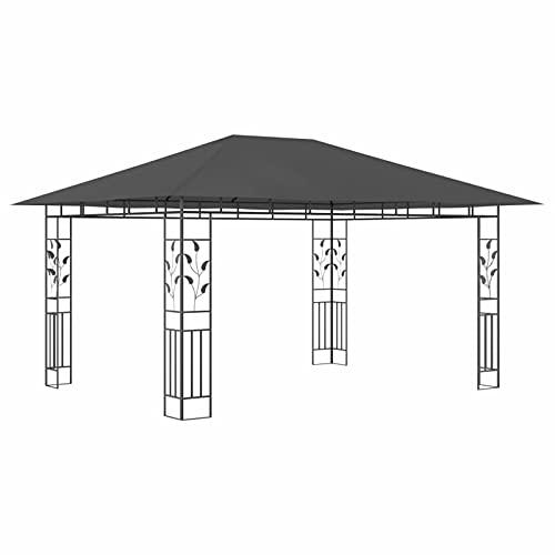 Ksodgun Cenador con mosquitera Tira Luces Toldo Dosel Cenador de jardín para Fiesta Eventos Bodas Antracita 4x3x2,73m 180 g/m²