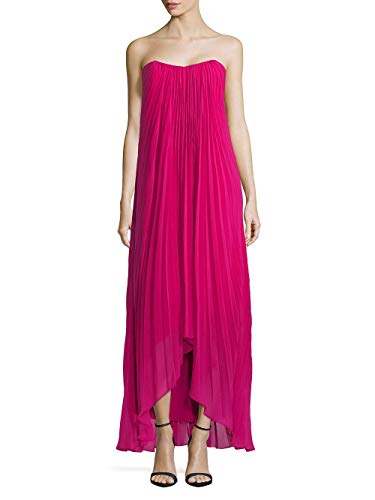 Laundry by Shelli Segal Strapless Pleated Hi-Low Chiffon Gown, Very Berry, 4