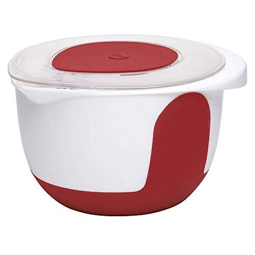 Emsa 508019 Rührtopf mit Deckel, 3 Liter, Abriebfeste Skala, Weiß/Rot, Mix & Bake