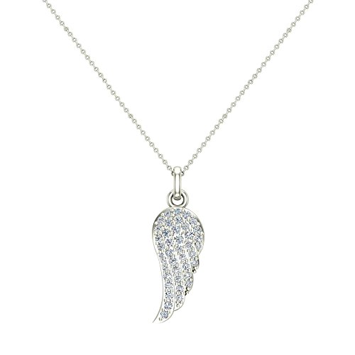 Glitz Design Angel Wings 14K White Gold Diamond Necklaces for Women-Girls Charm w/o Chain Gift Box Authenticity Cards (I,I1)