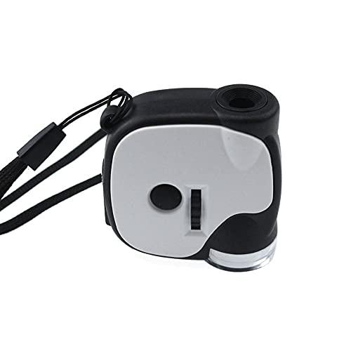 Mini microscopio de bolsillo portátil de mano 55X con lámpara LED lupa...