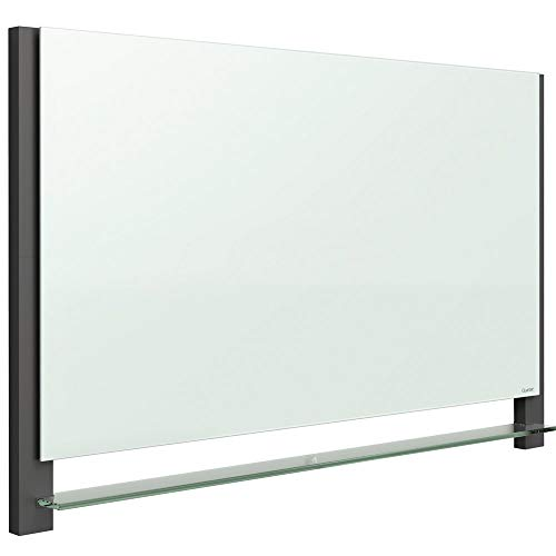"""Quartet Glass Whiteboard, Magnetic Dry Erase White Board, 50"""" x 28"""", Wide Format with Invisible Mount, Black Aluminum Frame, Evoque (G5028BA)"""