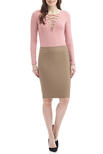Rekucci Women's Ease into Comfort Fit Perfect Midi Pencil Skirt (Small,Oatmeal)