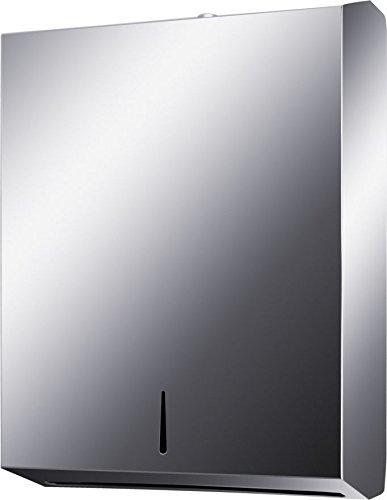 Bene Papierspender Handtuchspender Papierhandtuchspender Edelstahl 18/8 (SUS304) matt Spender, abschließbar
