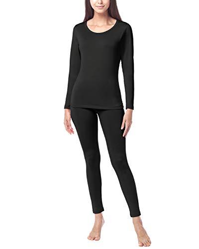 LAPASA Donna Set Termico - Ti Tiene al Caldo Senza Stress- T-Shirt Maniche Lunghe & Pantaloni Invernali Ultra Leggero L17 (Large, Nero(di Medio Spessore))