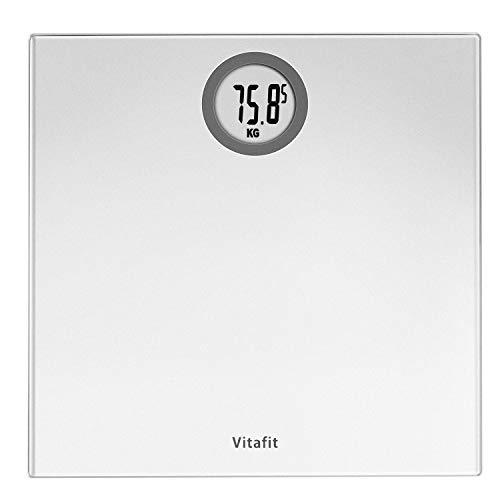 Vitafit Pèse-personne Électronique,Pese Personnes Balance Numériques avec technologie Step-On,180kg/400lb/28st, Affichage LCD, Argent Elégant