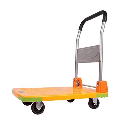 KUN PENG SHOP Pull Truck Flatbed Opvouwbare Trolley Platform Cart Small Cart Truck Vierwielige Plastic Opslag Vrachtwagen Logistiek Auto Oranje