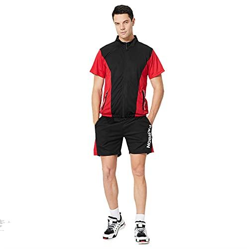 Chándal deportivo de 2 piezas para hombre, conjunto de deporte de manga corta, suéter para verano, tiempo libre, traje de jogging, chándal, camiseta y pantalones 5,negro M