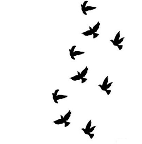 9 Petit Tatouages éphémères Divergente Oiseaux Noir Waterproof - Tatoo temporaire - Bijou de Peau Oiseaux