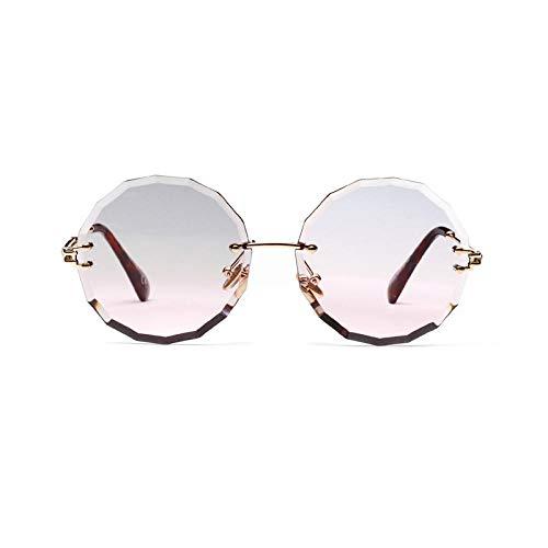 Sonnenbrille Retro Runde Sonnenbrille Frauen Mädchen Vintage Shades Schwarz Rot Metall Farbe Sonnenbrille Für Female Fashion-Grey_Pink