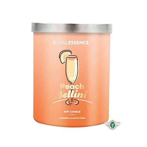 Royal Essence Peach Bellini Jewellery Candle(Surprise 925 Sterling Silver Jewellery Valued at £50 to £3,000) Ring Size 10