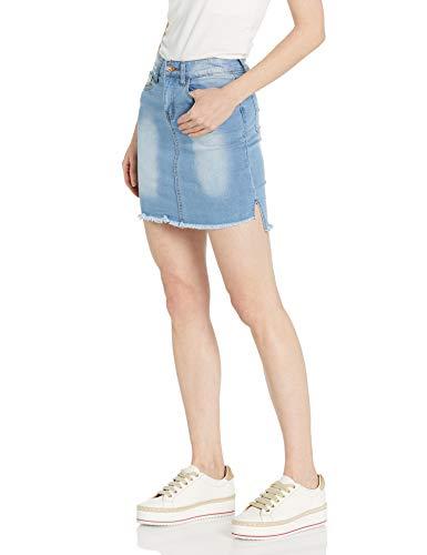 CG JEANS Denim Skirt for Juniors Ripped Distressed Fringe Hem Cute and Sexy, Light Wash, Medium